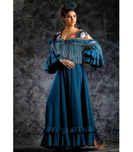 woman flamenco dresses 2019 - Roal - Flamenca dress Estepona Blue lace