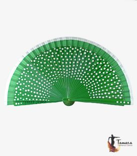 spanish fans - - Fan (23 cm) - Flamenco white polka dots and fair