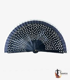 Fan (23 cm) - Flamenco white polka dots and fair