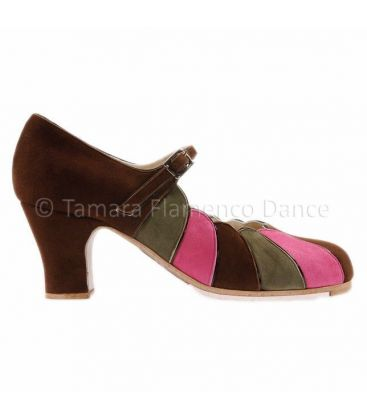 flamenco shoes professional for woman - Begoña Cervera - flamenco shoe begoña cervera acuarela brown pink green