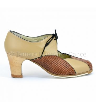 flamenco shoes professional for woman - Begoña Cervera - acuarela cordonera camel design 01