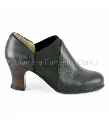 flamenco shoes professional for woman - Begoña Cervera - arraigo black leather side