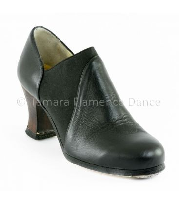 flamenco shoes professional for woman - Begoña Cervera - arraigo black leather front