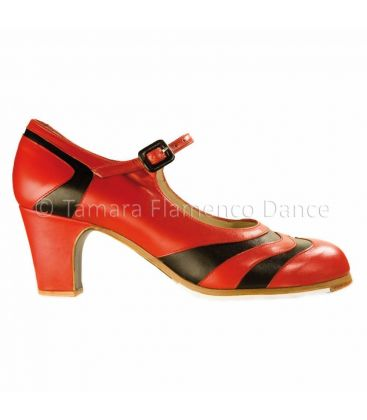 flamenco shoes professional for woman - Begoña Cervera - bicolor red-black leather