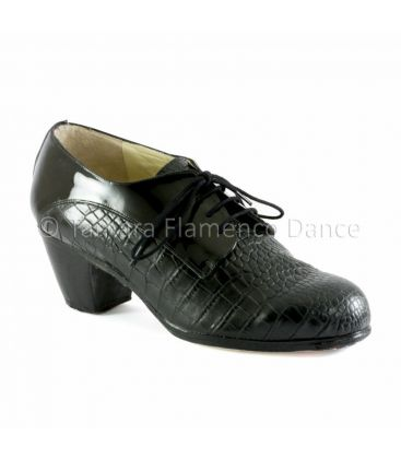 flamenco shoes for man - Begoña Cervera - Blucher for man black coco and patent leather front