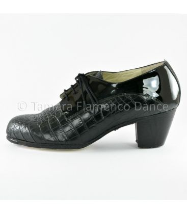 flamenco shoes for man - Begoña Cervera - Blucher for man black coco and patent leather side