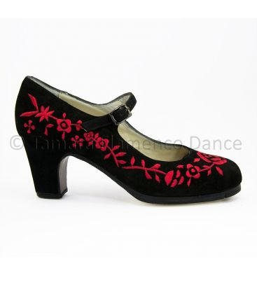 flamenco shoes professional for woman - Begoña Cervera - Bordado correa I red and black suede