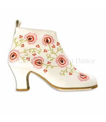 flamenco shoes professional for woman - Begoña Cervera - Botin bordado white leather with flowers
