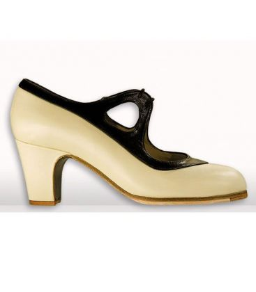 flamenco shoes professional for woman - Begoña Cervera - candor beige-black leather