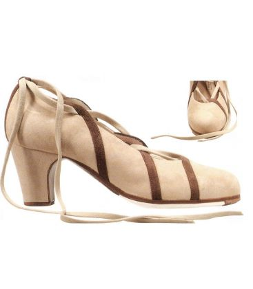 flamenco shoes professional for woman - Begoña Cervera - Cintas beige suede