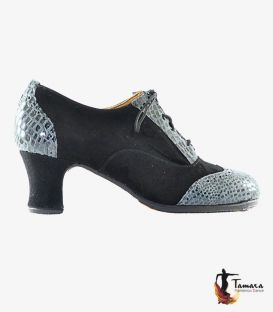 in stock flamenco shoes professionals - Tamara Flamenco - Macarena ( In stock ) professional flamenco shoe black suede and snake