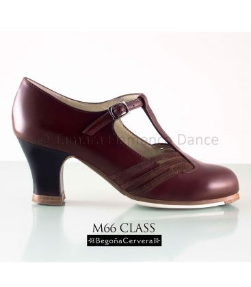 flamenco shoes professional for woman - Begoña Cervera - Class bordeaux leather with dark wood heel