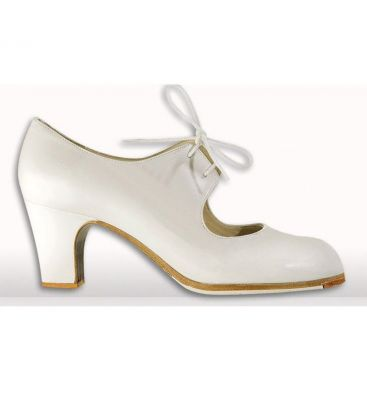 flamenco shoes professional for woman - Begoña Cervera - Cordonera white leather