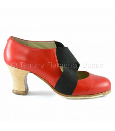 flamenco shoes professional for woman - Begoña Cervera - Cruz piel red leather side