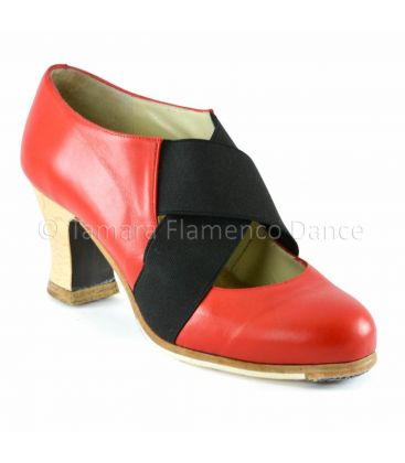 flamenco shoes professional for woman - Begoña Cervera - Cruz piel red frontal-side