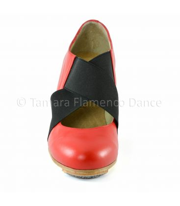 flamenco shoes professional for woman - Begoña Cervera - Cruz piel red leather front