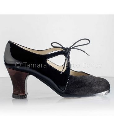 flamenco shoes professional for woman - Begoña Cervera - Dulce patent leather and black suede