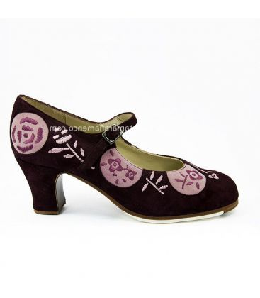 flamenco shoes professional for woman - Begoña Cervera - Lunas Bordadas suede