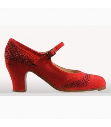 flamenco shoes professional for woman - Begoña Cervera - Tachas red suede