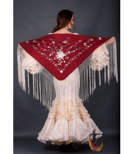 Roma Shawl Ivory Fringe - Ivory Embroidered