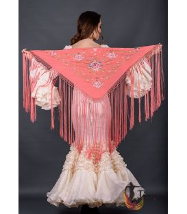spanish shawls - - Florencia Shawl Beig Fringe - Pink tons Embroidered
