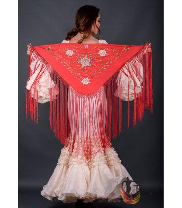 spanish shawls - - Florencia Shawl - Earth tons Embroidered