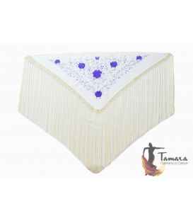 spanish shawls - - Florencia Shawl - Purple Embroidered