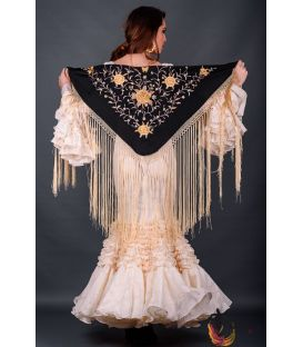 spanish shawls - - Florencia Shawl Beig Fringe - Golden tons Embroidered
