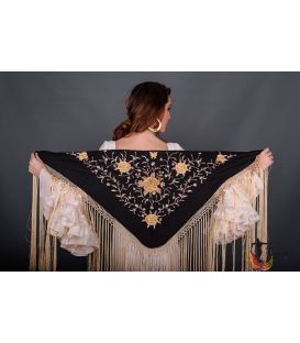 Florencia Shawl Beig Fringe - Golden tons Embroidered