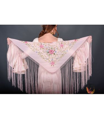 spanish shawls - - Florencia Shawl - Pink tons Embroidered
