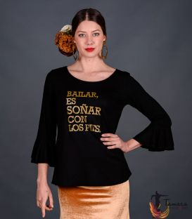 maillots bodys flamenco tops for woman - - T-shirt with flounces GOLD - Soñar es bailar