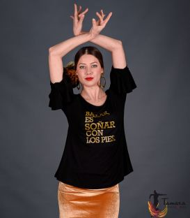 T-shirt with flounces GOLD - Soñar es bailar
