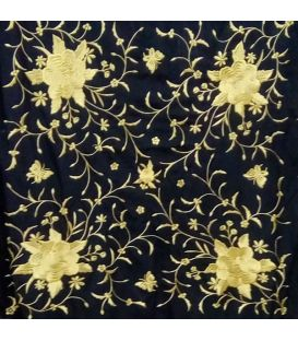 shawl 2 colors - - Manila Spring Shawl - Golden Embroidered