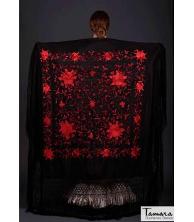 shawl 2 colors - - Manila Spring Shawl - Red Embroidered