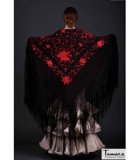 Manila Spring Shawl - Red Embroidered