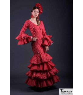 flamenco dresses woman in stock immediate shipping - Roal - Size 34 - Serrana (Red with beig polka dots)