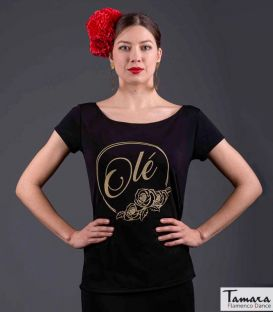 maillots bodys flamenco tops for woman - - Flamenco t-shirt Olé - Gold