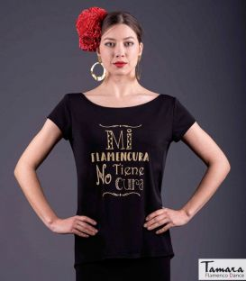 Flamenco T-shirt My flamencura has no cure - Gold
