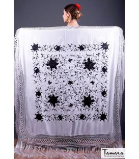 shawl 2 colors - - Manila Spring Shawl - Black Embroidered