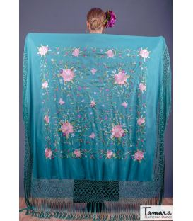 multicolored shawl - - Manila Spring Shawl - Pink tons Embroidered