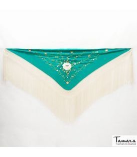 manila shawls - - Roma Shawl Ivory Fringe - Earth tons Embroidered