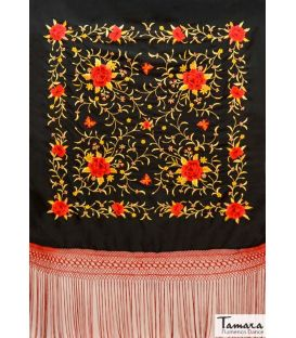 manila shawls - - Manila Shawl Red fringes - Red and Gold Embroidered