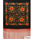 Manila Shawl Red fringes - Red and Gold Embroidered