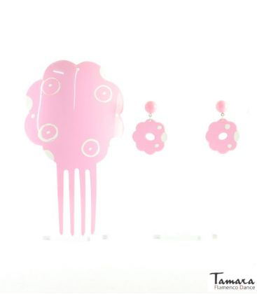 flamenco combs - - Comb + earring Hand-painted - Acetate 19 cm