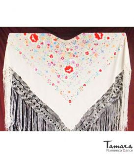 Manila Shawls Floral Ivory with colors