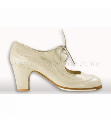 flamenco shoes professional for woman - Begoña Cervera - Angelito chino-white leather