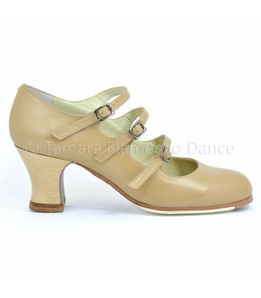 flamenco shoes professional for woman - Begoña Cervera - flamenco shoe begoña cervera 3 correas beige