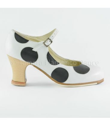 in stock flamenco shoes professionals - Begoña Cervera - Lunares whte black with wood heel front