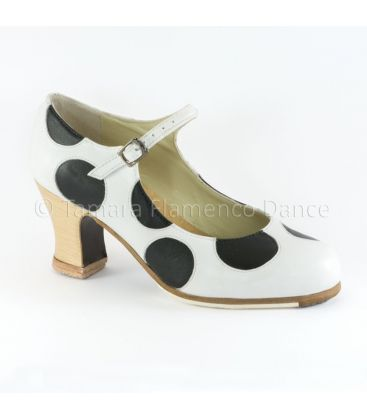 in stock flamenco shoes professionals - Begoña Cervera - Lunares whte black with wood heel lateral view