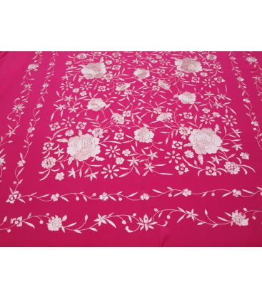 shawl 2 colors - - Manila Shawls Floral Fuxia with ivory